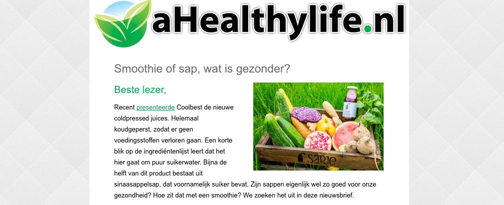 a healthy life nieuwsbrief