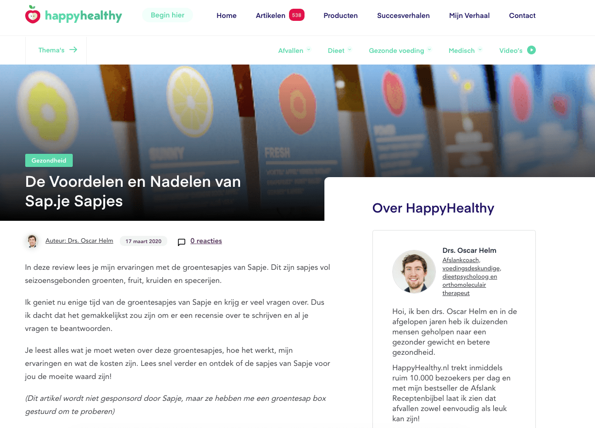 happy healthy sapje review