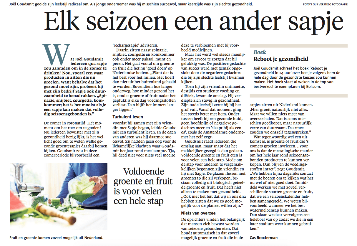 noord hollands dagblad sapje