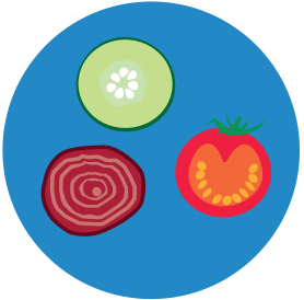 icon: Choose raw fruits and vegetables.