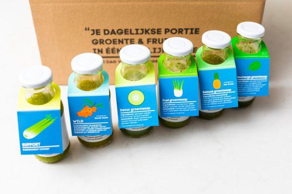Groene groenteasappen box voor